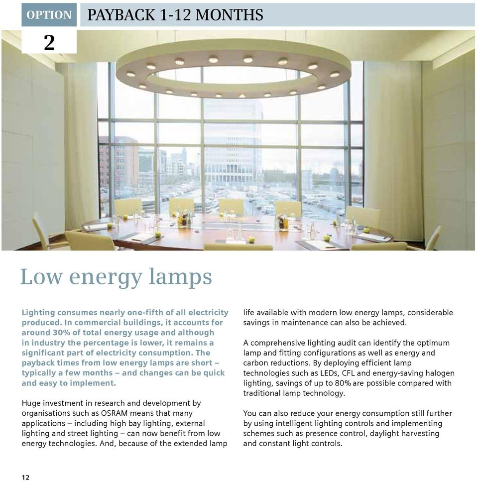 The payback times from low energy lamps are short typically a few months and changes can be quick and easy to implement.