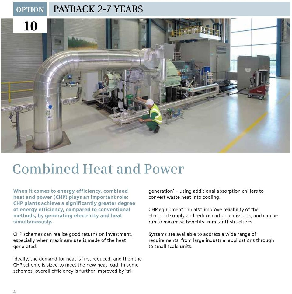 CHP schemes can realise good returns on investment, especially when maximum use is made of the heat generated.
