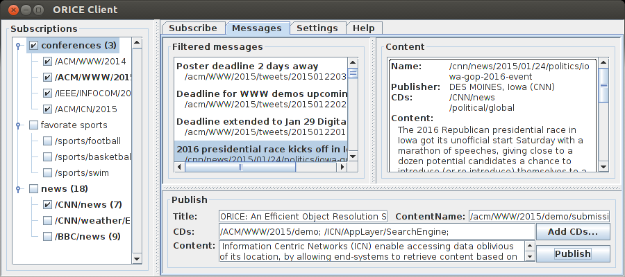 Extension: Object Resolution 172 Figure 9.3: Subscription View. Figure 9.4: Publication and Messages View. subscription.