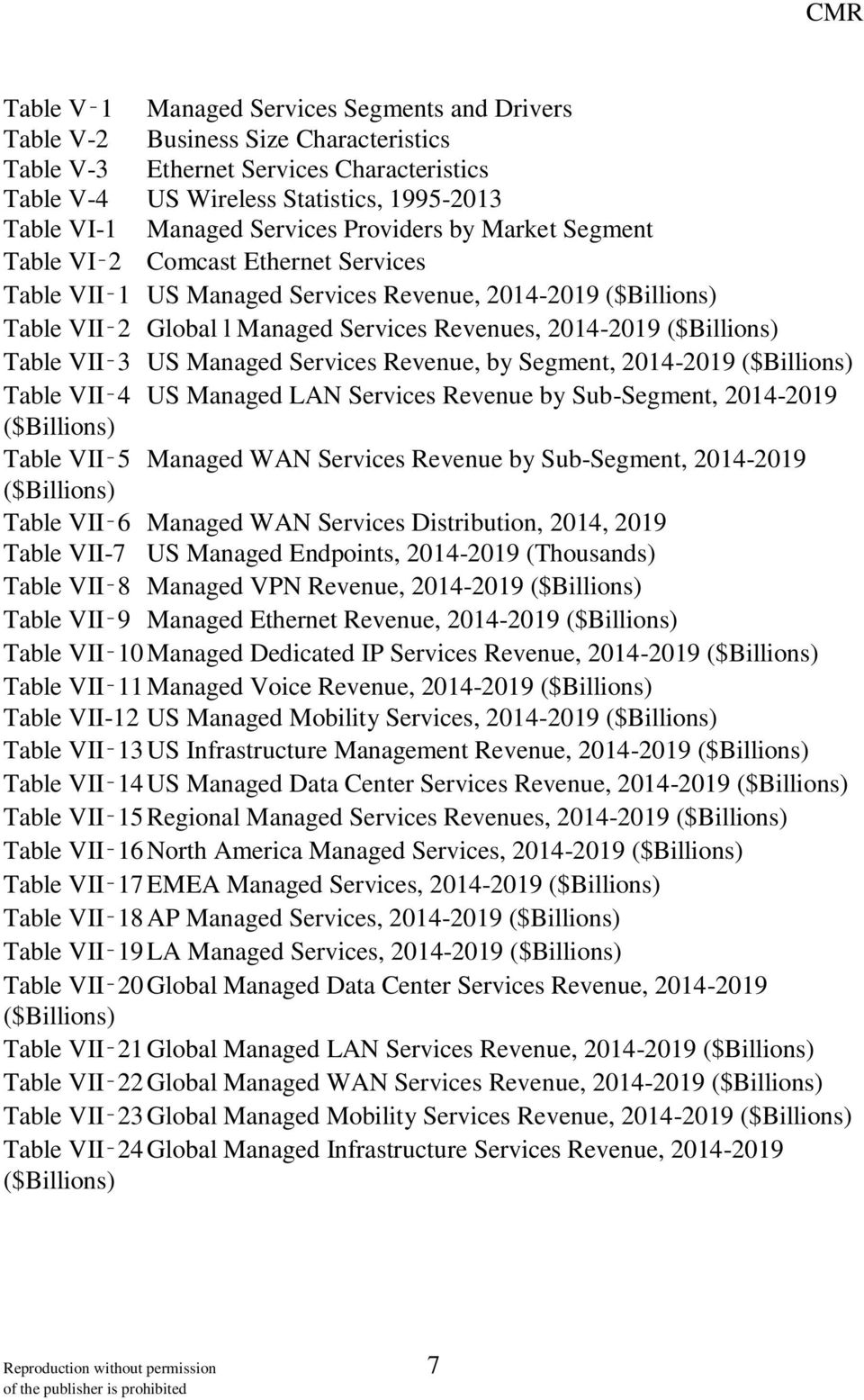 ($Billions) Table VII 3 US Managed Services Revenue, by Segment, 2014-2019 ($Billions) Table VII 4 US Managed LAN Services Revenue by Sub-Segment, 2014-2019 ($Billions) Table VII 5 Managed WAN