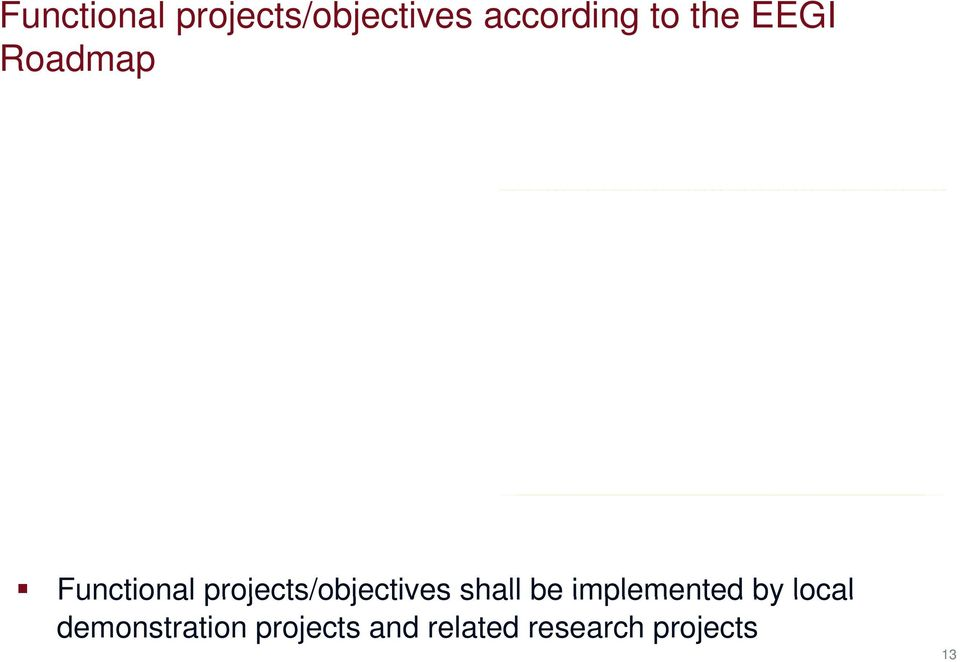 projects/objectives shall be implemented by