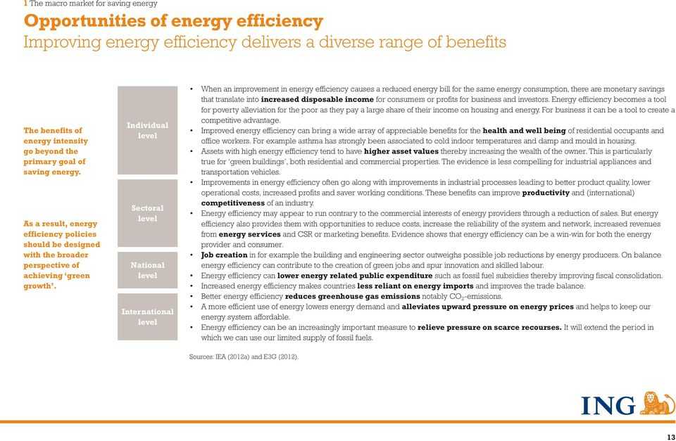 Individual level Sectoral level National level International level When an improvement in energy efficiency causes a reduced energy bill for the same energy consumption, there are monetary savings
