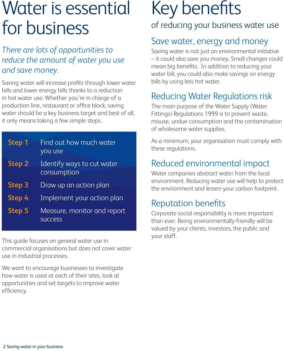 Whether you re in charge of a production line, restaurant or office block, saving water should be a key business target and best of all, it only means taking a few simple steps.