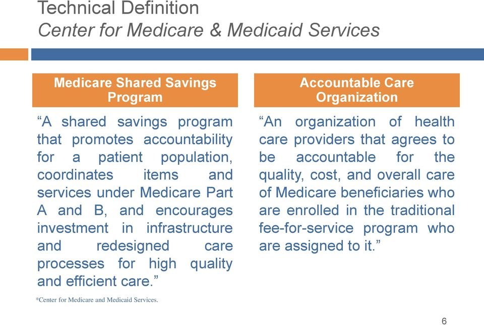 high quality and efficient care. *Center for Medicare and Medicaid Services.