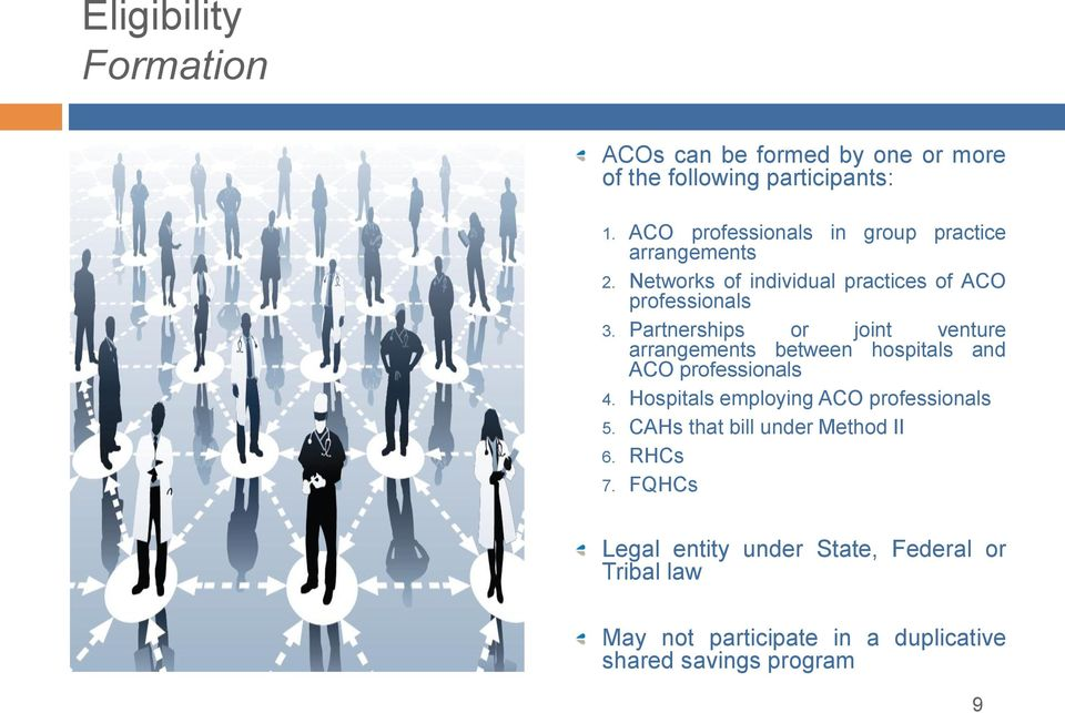 Partnerships or joint venture arrangements between hospitals and ACO professionals 4.