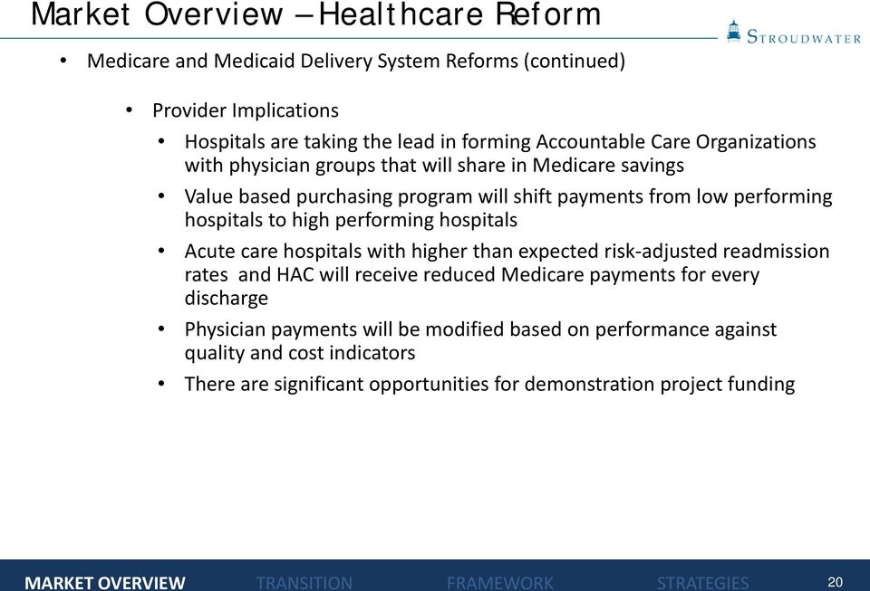 to high performing hospitals Acute care hospitals with higher than expected risk-adjusted readmission rates and HAC will receive reduced Medicare payments for every