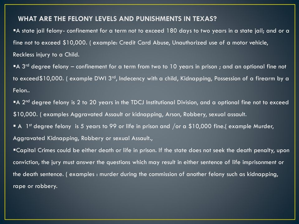 A 3 rd degree felony confinement for a term from two to 10 years in prison ; and an optional fine not to exceed$10,000.