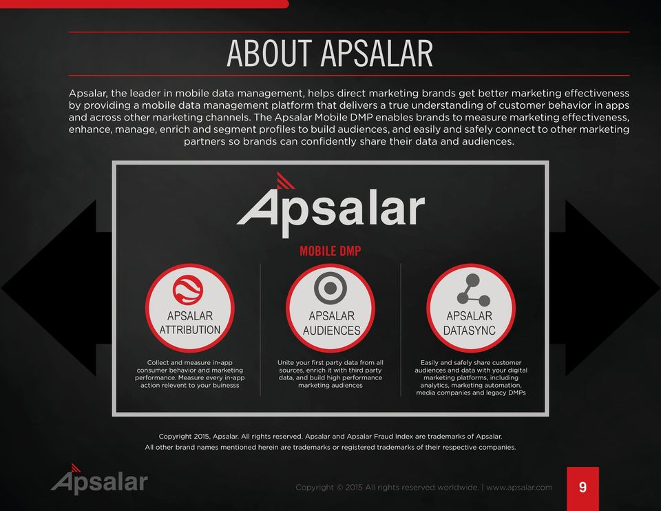 The Apsalar Mobile DMP enables brands to measure marketing effectiveness, enhance, manage, enrich and segment profiles to build audiences, and easily and safely connect to other marketing partners so