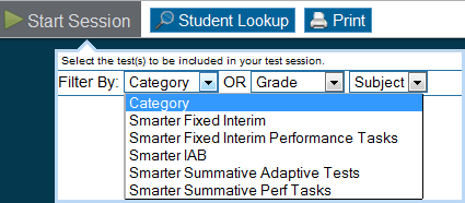 Step Test Administrator Student 5 Select the test(s) to administer