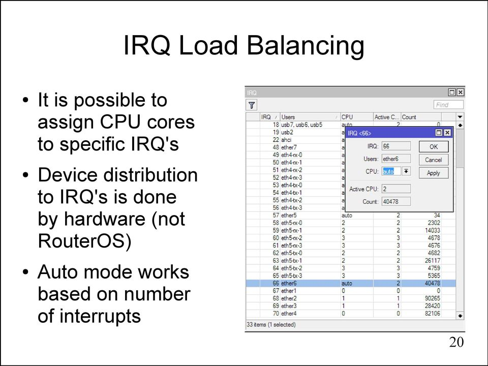 distribution to IRQ's is done by hardware