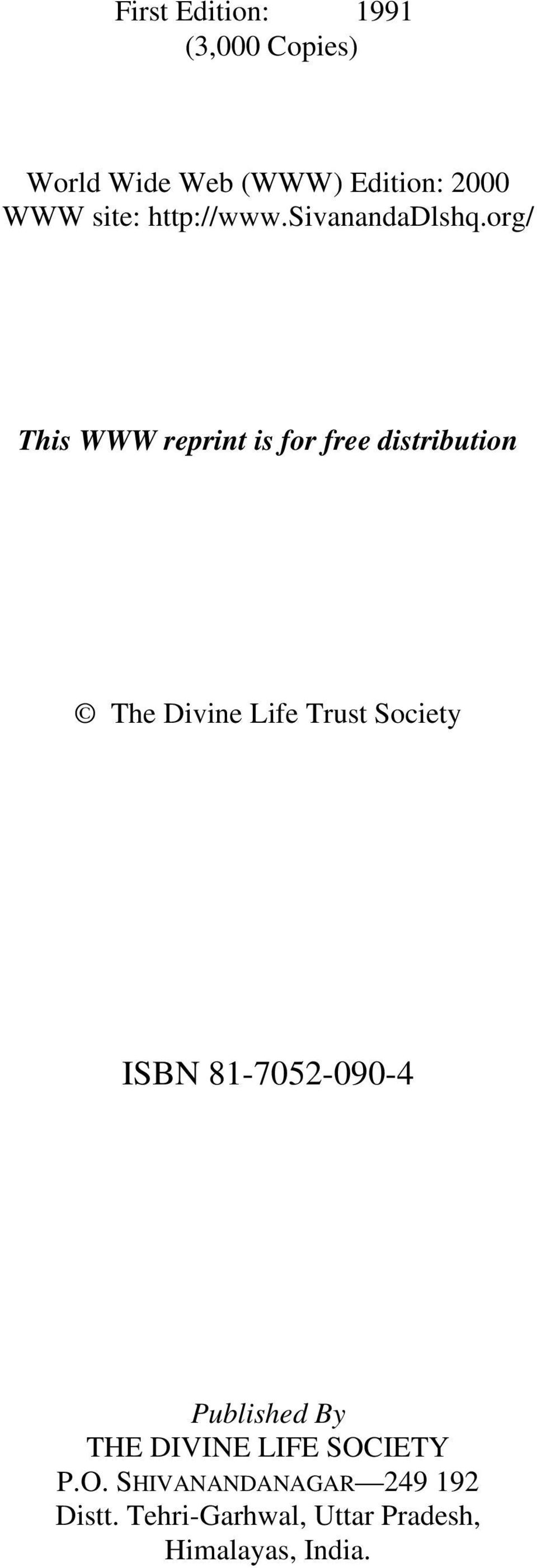 org/ This WWW reprint is for free distribution The Divine Life Trust Society