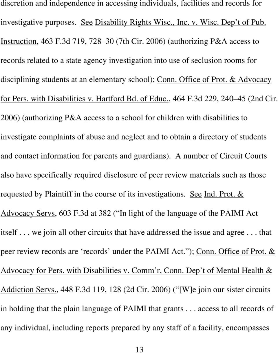 Office of Prot. & Advocacy for Pers. with Disabilities v. Hartford Bd. of Educ., 464 F.3d 229, 240 45 (2nd Cir.