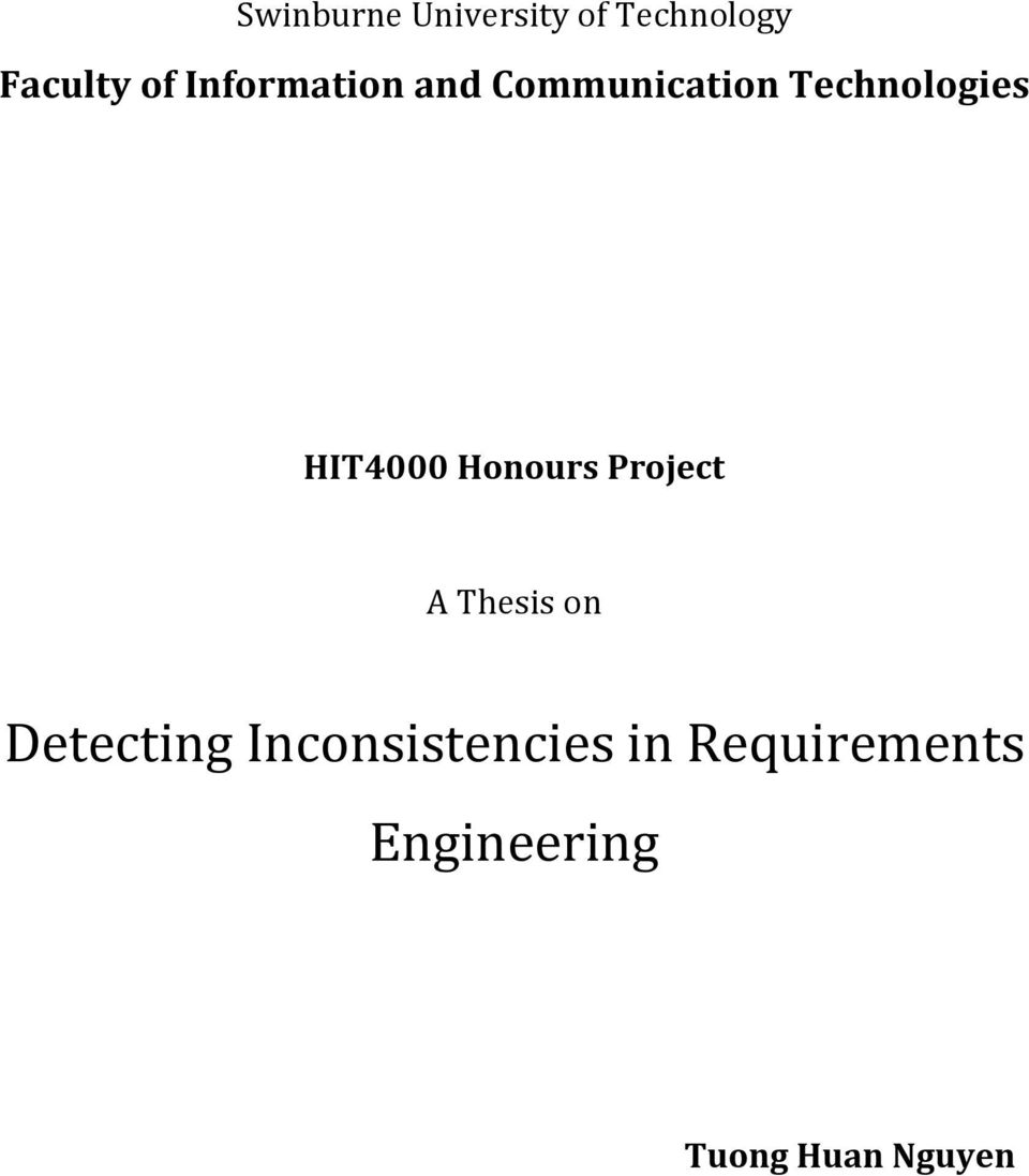 HIT4000 Honours Project A Thesis on Detecting