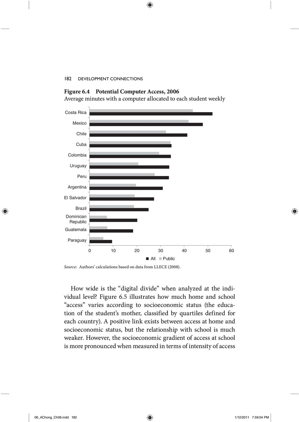 Guatemala Paraguay 0 10 20 30 40 50 60 Source: Authors calculations based on data from LLECE (2008). All Public How wide is the digital divide when analyzed at the individual level? Figure 6.