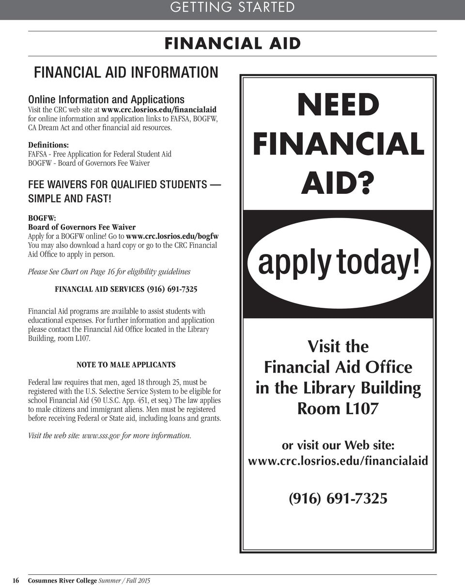Definitions: FAFSA - Free Application for Federal Student Aid BOGFW - Board of Governors Fee Waiver FEE WAIVERS FOR QUALIFIED STUDENTS SIMPLE AND FAST!