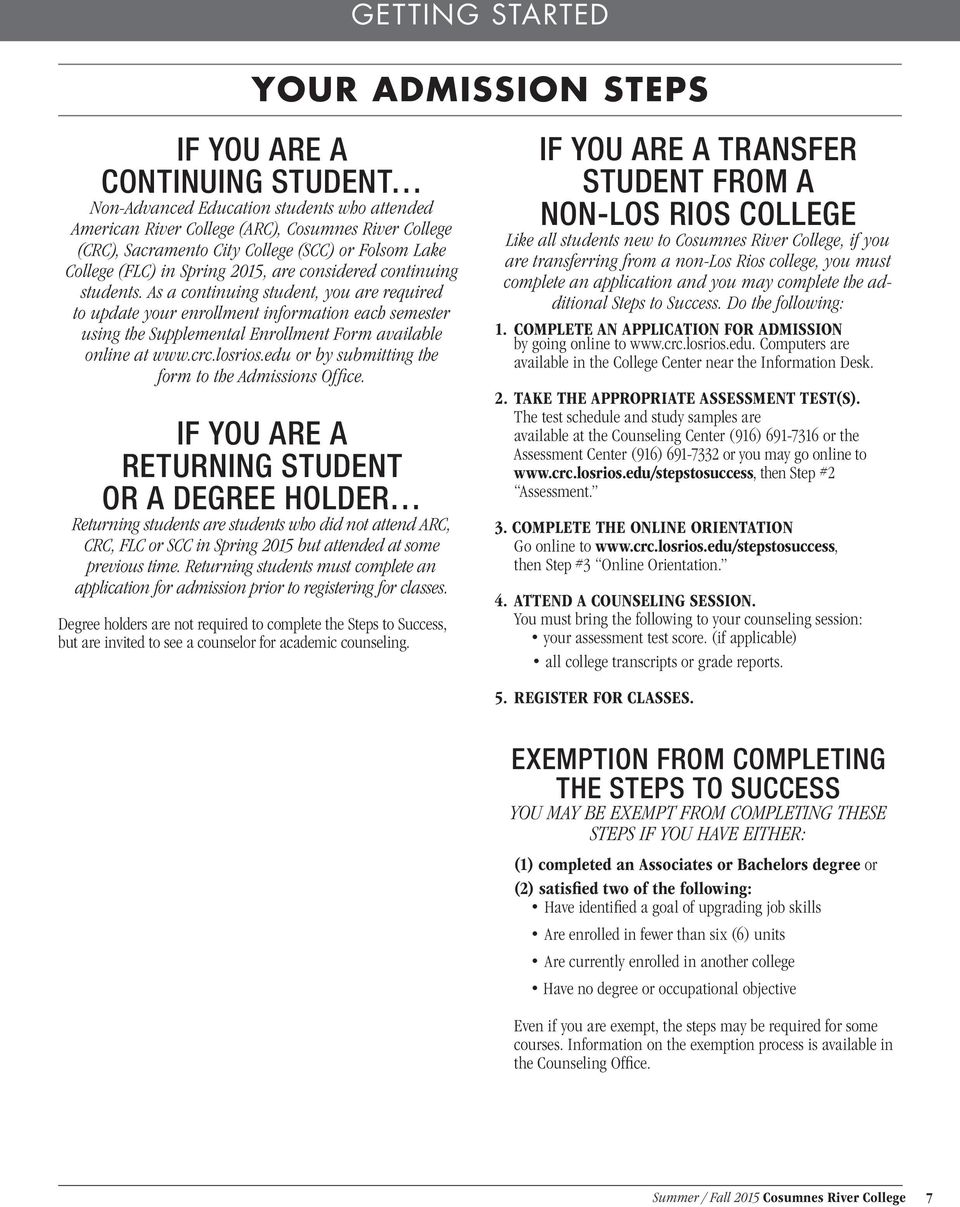 As a continuing student, you are required to update your enrollment information each semester using the Supplemental Enrollment Form available online at www.crc.losrios.