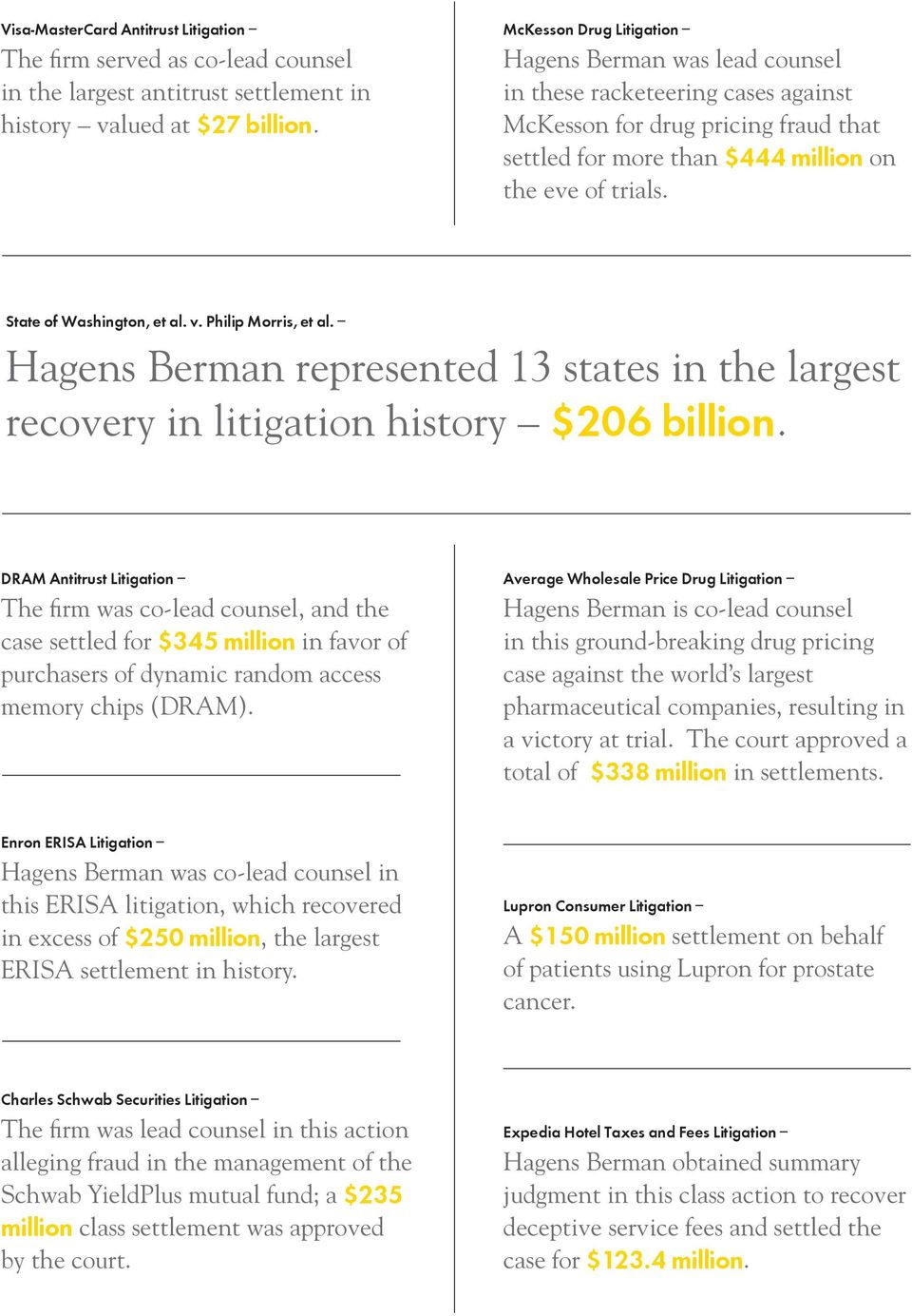 State of Washington, et al. v. Philip Morris, et al. Hagens Berman represented 13 states in the largest recovery in litigation history $206 billion.