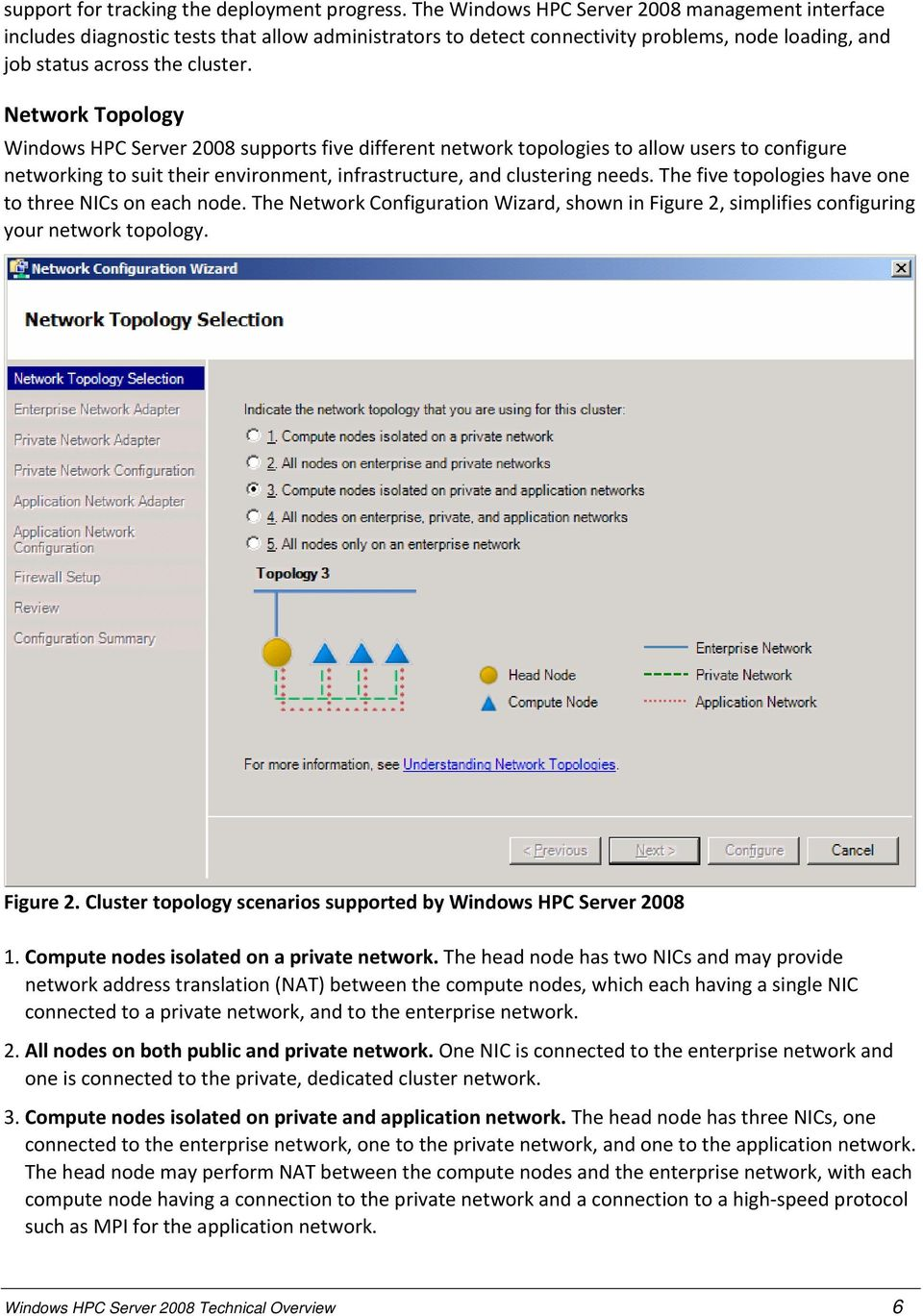 Network Topology Windows HPC Server 2008 supports five different network topologies to allow users to configure networking to suit their environment, infrastructure, and clustering needs.
