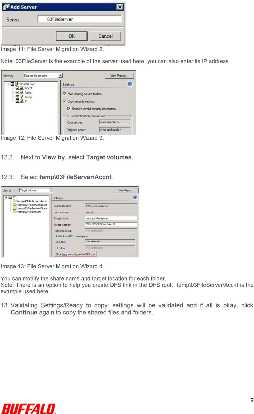 Image 13: File Server Migration Wizard 4. You can modify the share name and target location for each folder.