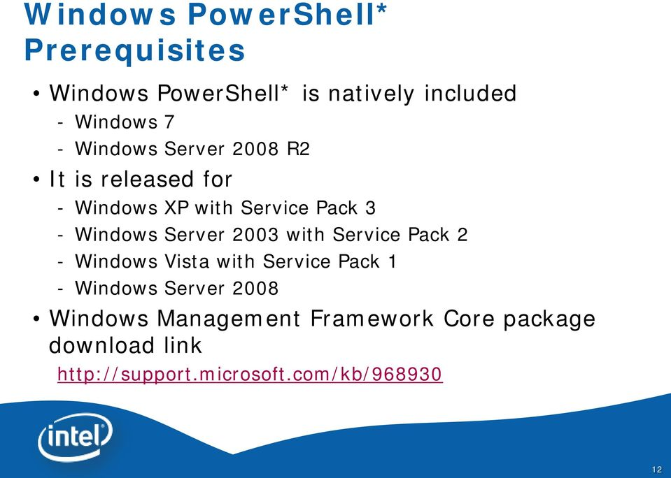 Server 2003 with Service Pack 2 - Windows Vista with Service Pack 1 - Windows Server 2008