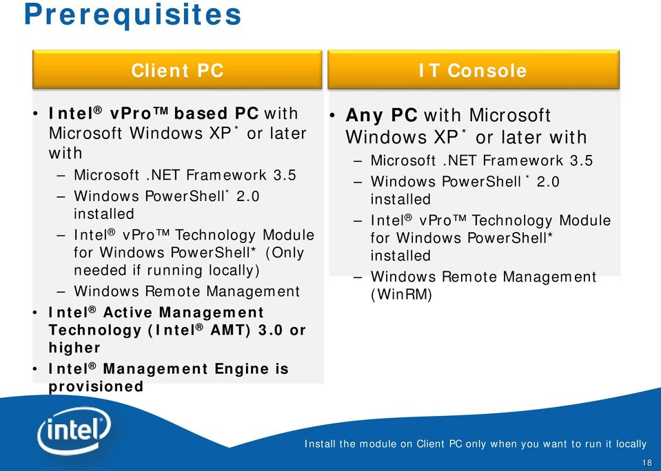 (Intel AMT) 3.0 or higher Intel Management Engine is provisioned IT Console Any PC with Microsoft Windows XP * or later with Microsoft.NET Framework 3.