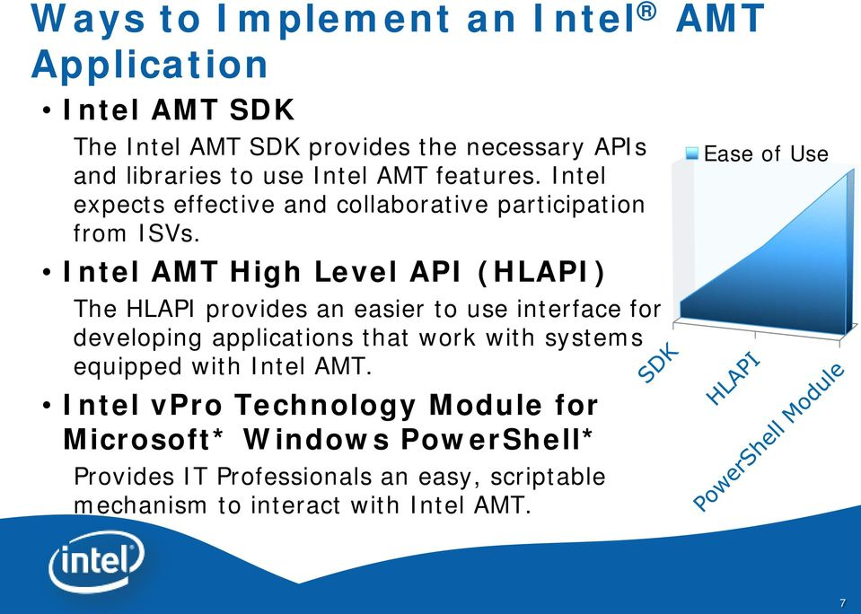Intel AMT High Level API (HLAPI) The HLAPI provides an easier to use interface for developing applications that work with systems