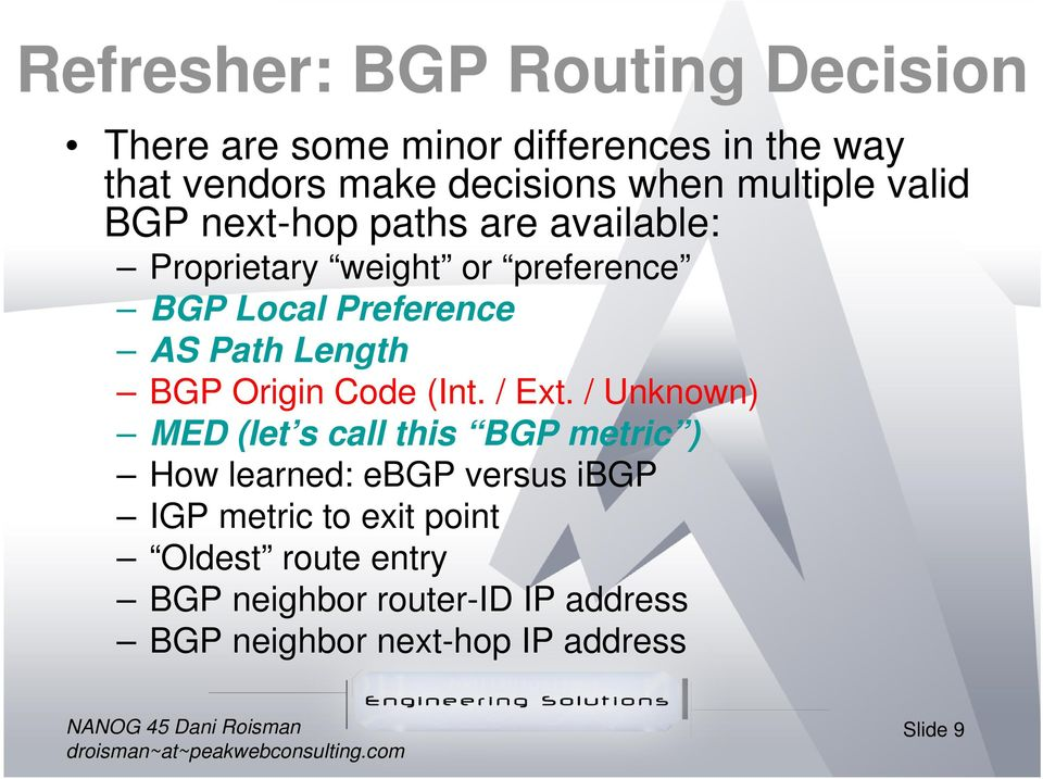 Length BGP Origin Code (Int. / Ext.