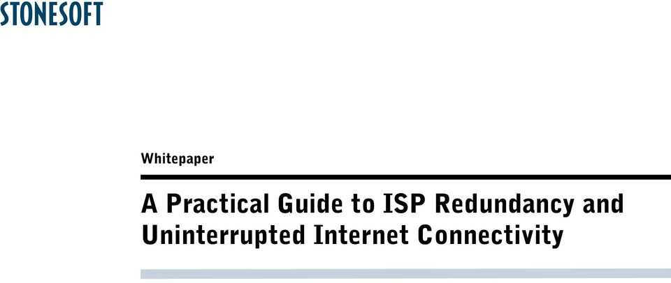 ISP Redundancy and