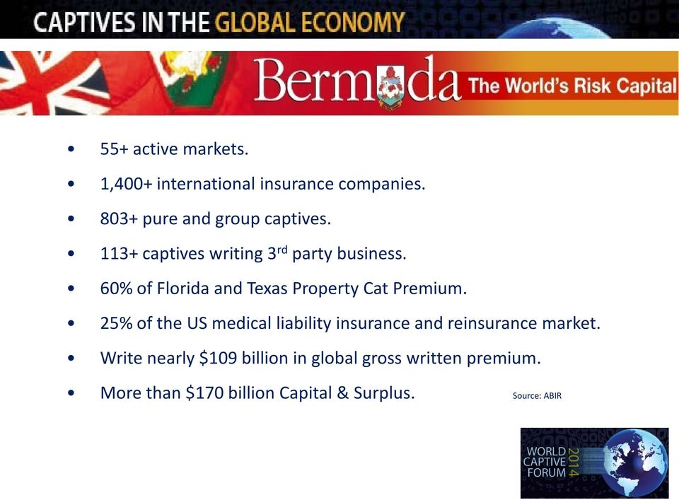 25% of the US medical liability insurance and reinsurance market.