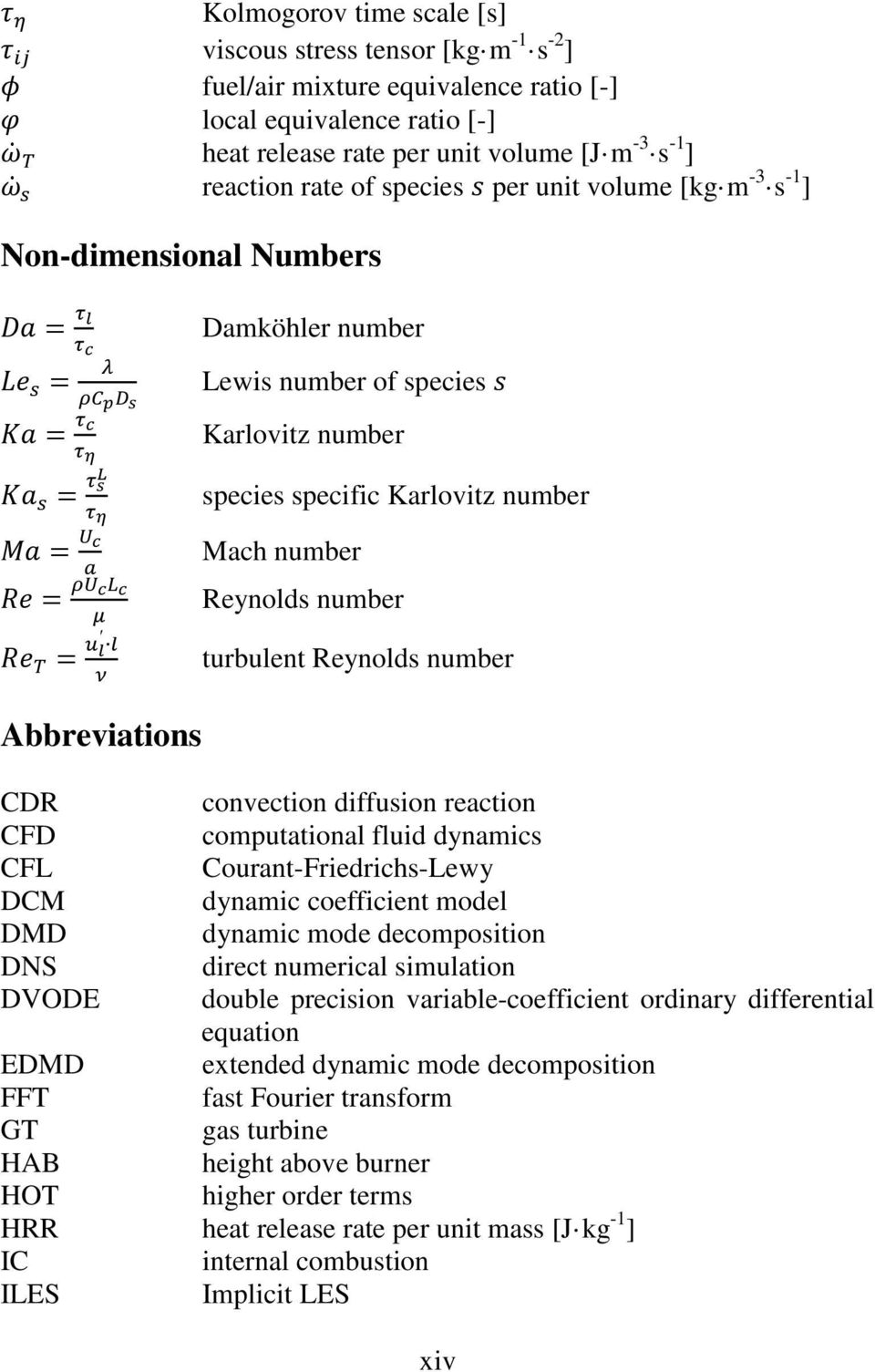 turbulent Reynolds number CDR convection diffusion reaction CFD computational fluid dynamics CFL Courant-Friedrichs-Lewy DCM dynamic coefficient model DMD dynamic mode decomposition DNS direct