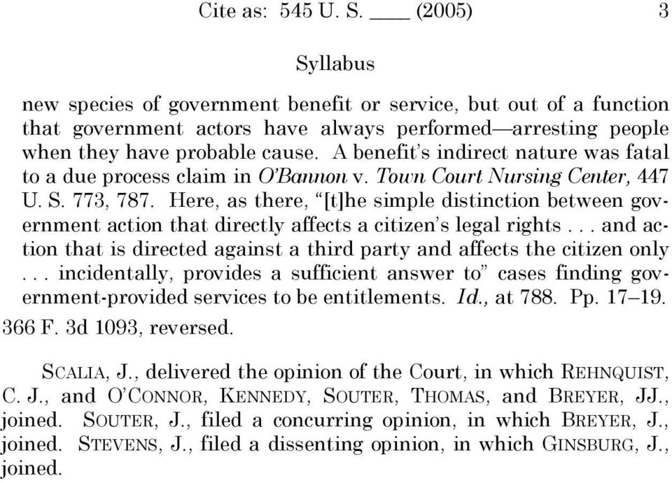 Here, as there, [t]he simple distinction between government action that directly affects a citizen s legal rights... and action that is directed against a third party and affects the citizen only.