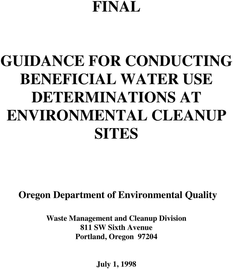 Department of Environmental Quality Waste Management and