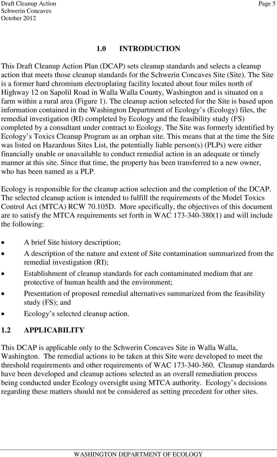 DRAFT CLEANUP ACTION PLAN SCHWERIN CONCAVES SITE CSID 3956