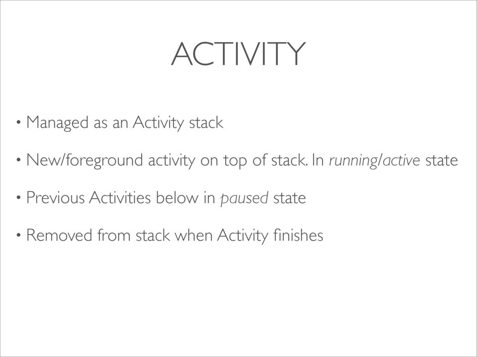 In running/active state Previous Activities
