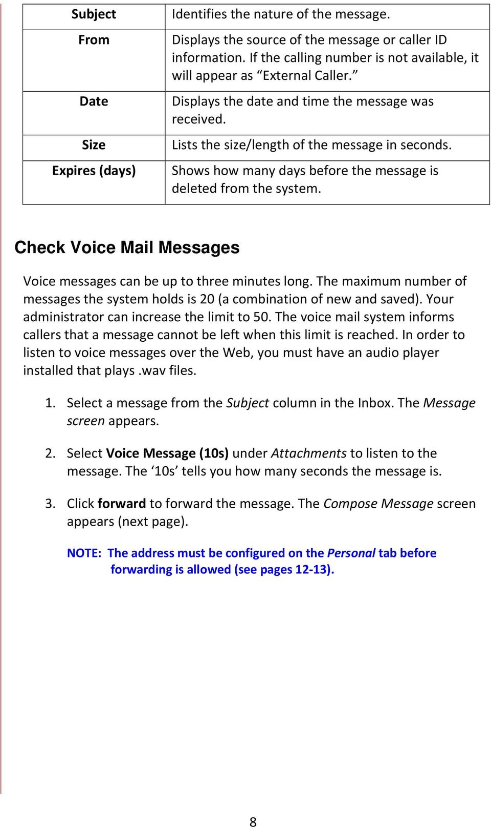Shows how many days before the message is deleted from the system. Check Voice Mail Messages Voice messages can be up to three minutes long.