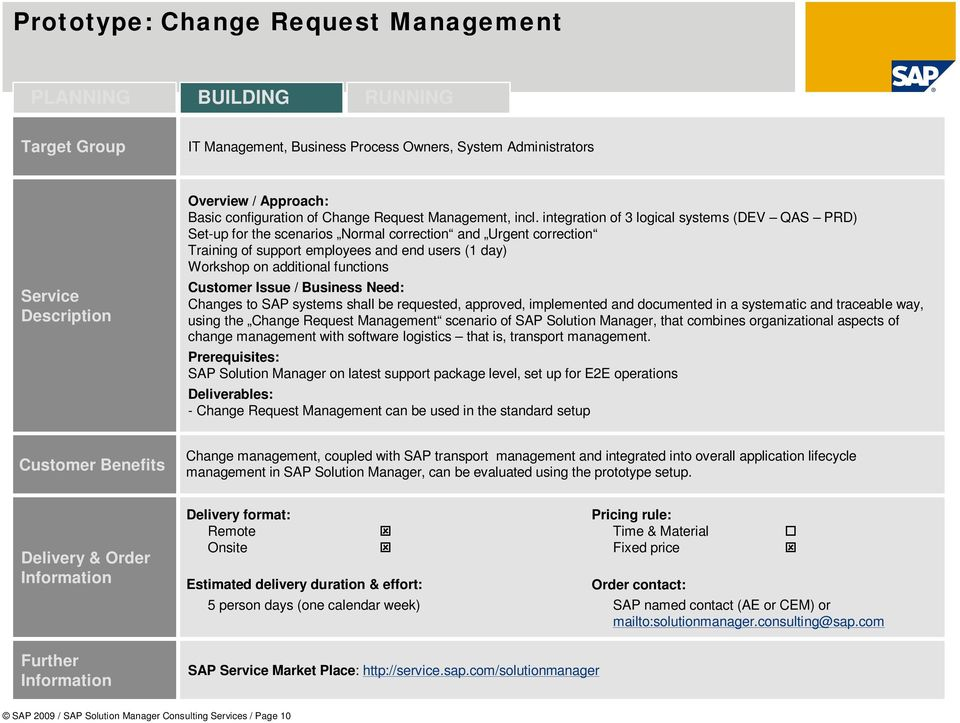 Changes to SAP systems shall be requested, approved, implemented and documented in a systematic and traceable way, using the Change Request Management scenario of SAP Solution Manager, that combines