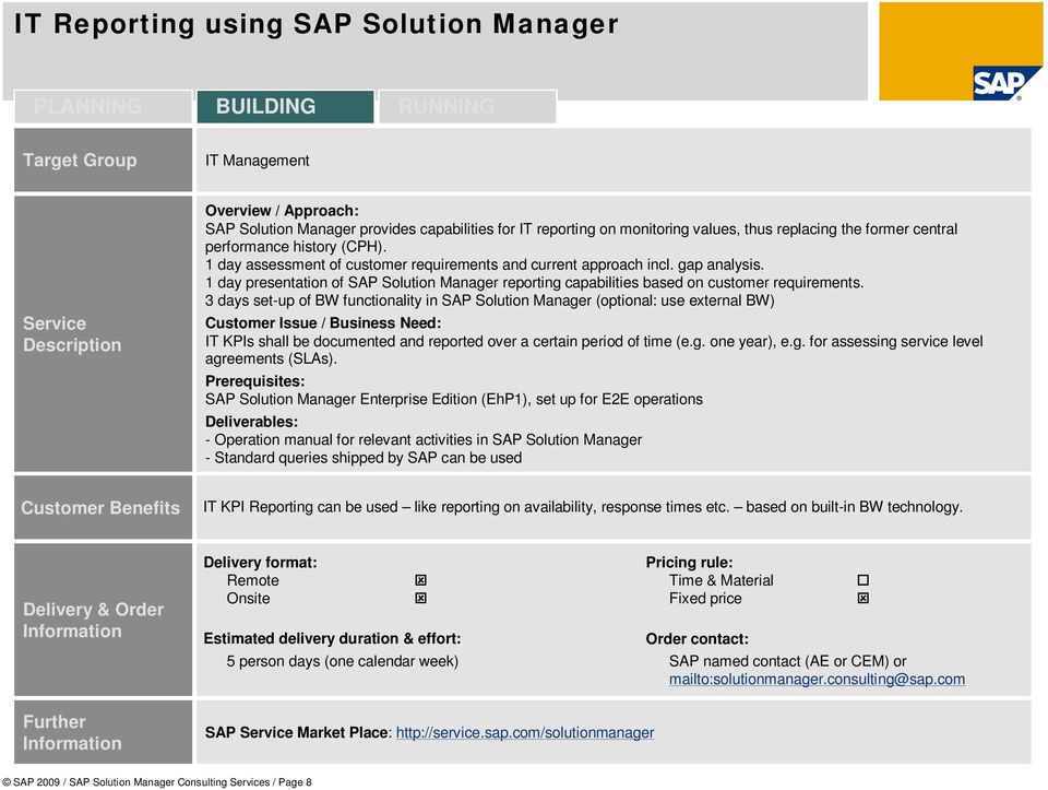 3 days set-up of BW functionality in SAP Solution Manager (optional: use external BW) IT KPIs shall be documented and reported over a certain period of time (e.g. one year), e.g. for assessing service level agreements (SLAs).