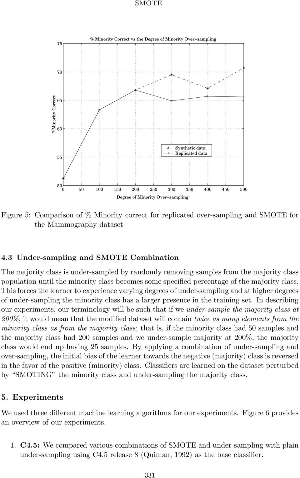 3 Under-sampling and SMOTE Combination The majority class is under-sampled by randomly removing samples from the majority class population until the minority class becomes some specified percentage