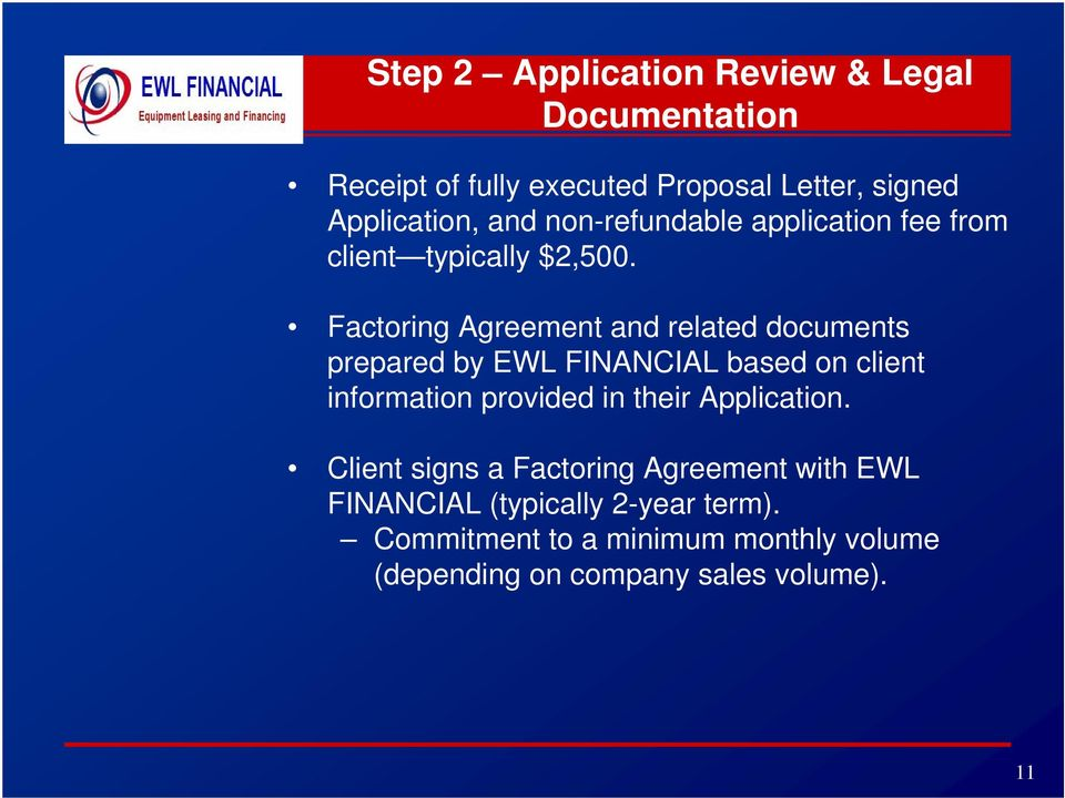 Factoring Agreement and related documents prepared by EWL FINANCIAL based on client information provided in their