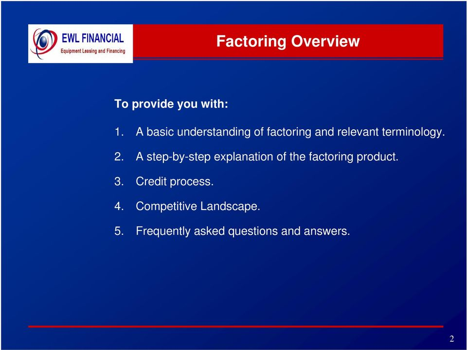 A step-by-step explanation of the factoring product. 3.