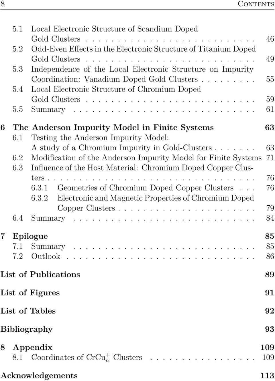 5 Summary............................. 61 6 The Anderson Impurity Model in Finite Systems 63 6.1 Testing the Anderson Impurity Model: A study of a Chromium Impurity in Gold-Clusters....... 63 6.2 Modification of the Anderson Impurity Model for Finite Systems 71 6.