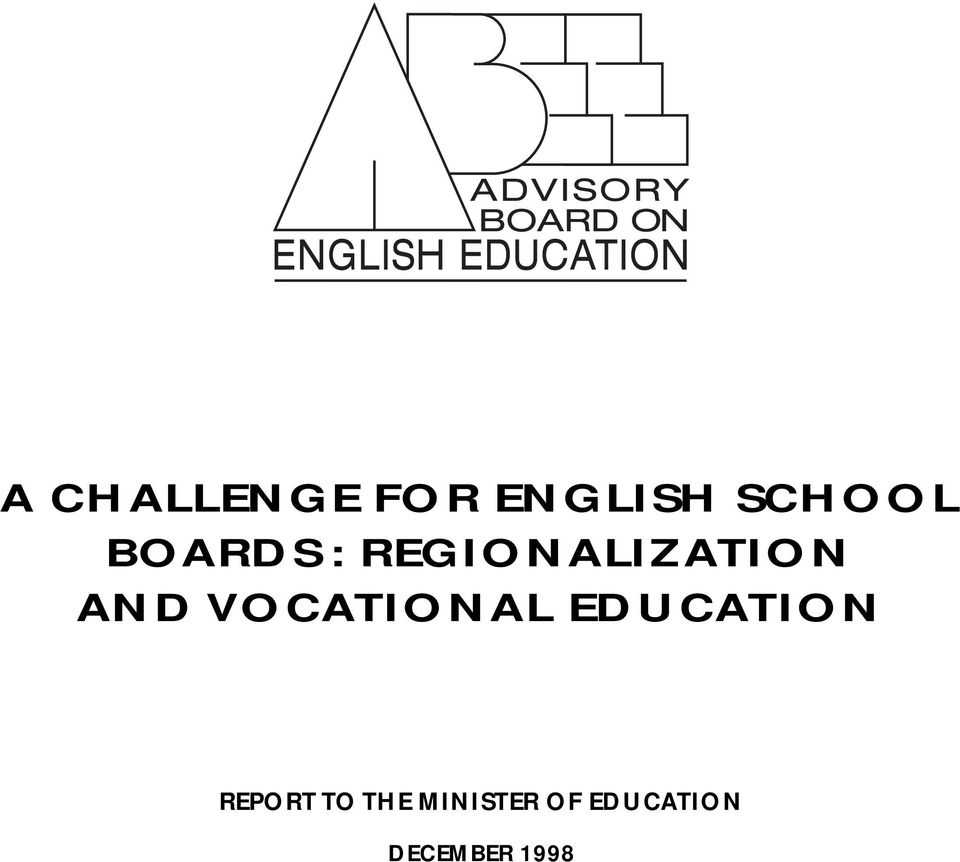 VOCATIONAL EDUCATION REPORT TO