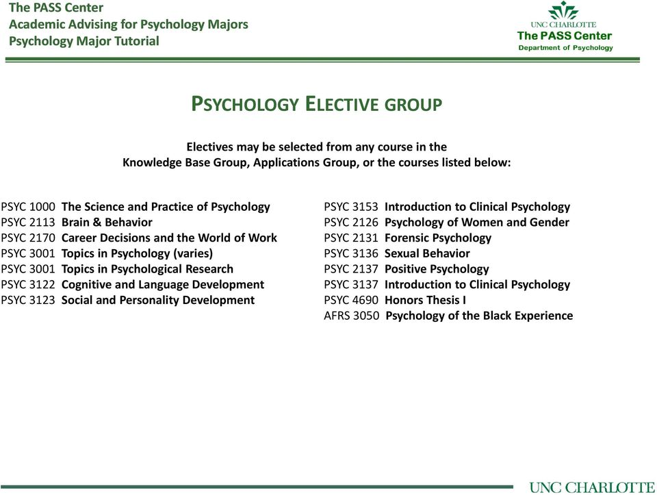 Cognitive and Language Development PSYC 3123 Social and Personality Development PSYC 3153 Introduction to Clinical Psychology PSYC 2126 Psychology of Women and Gender PSYC 2131