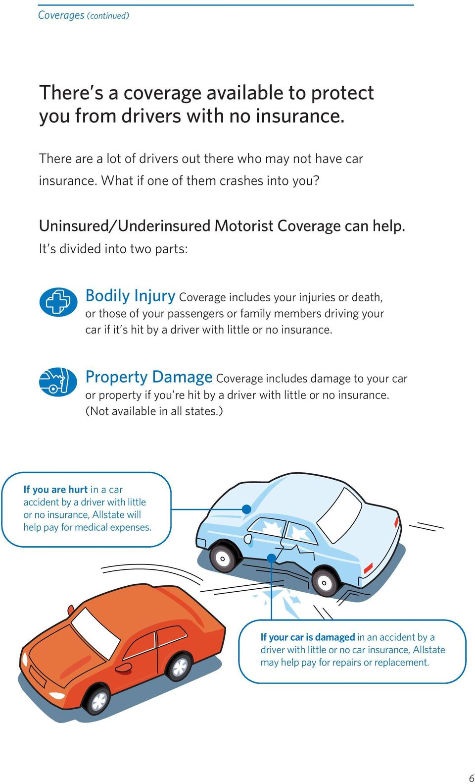 It s divided into two parts: Bodily Injury Coverage includes your injuries or death, or those of your passengers or family members driving your car if it s hit by a driver with little or no insurance.
