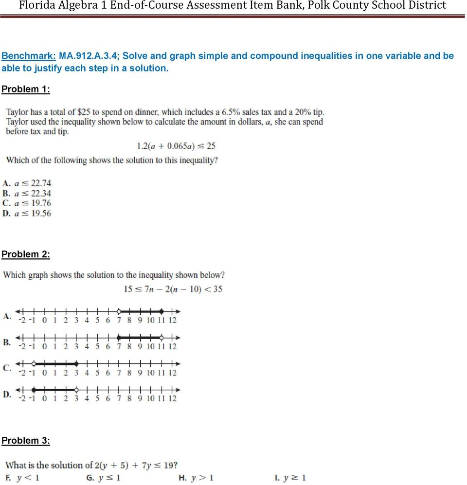 inequalities in one variable and be able