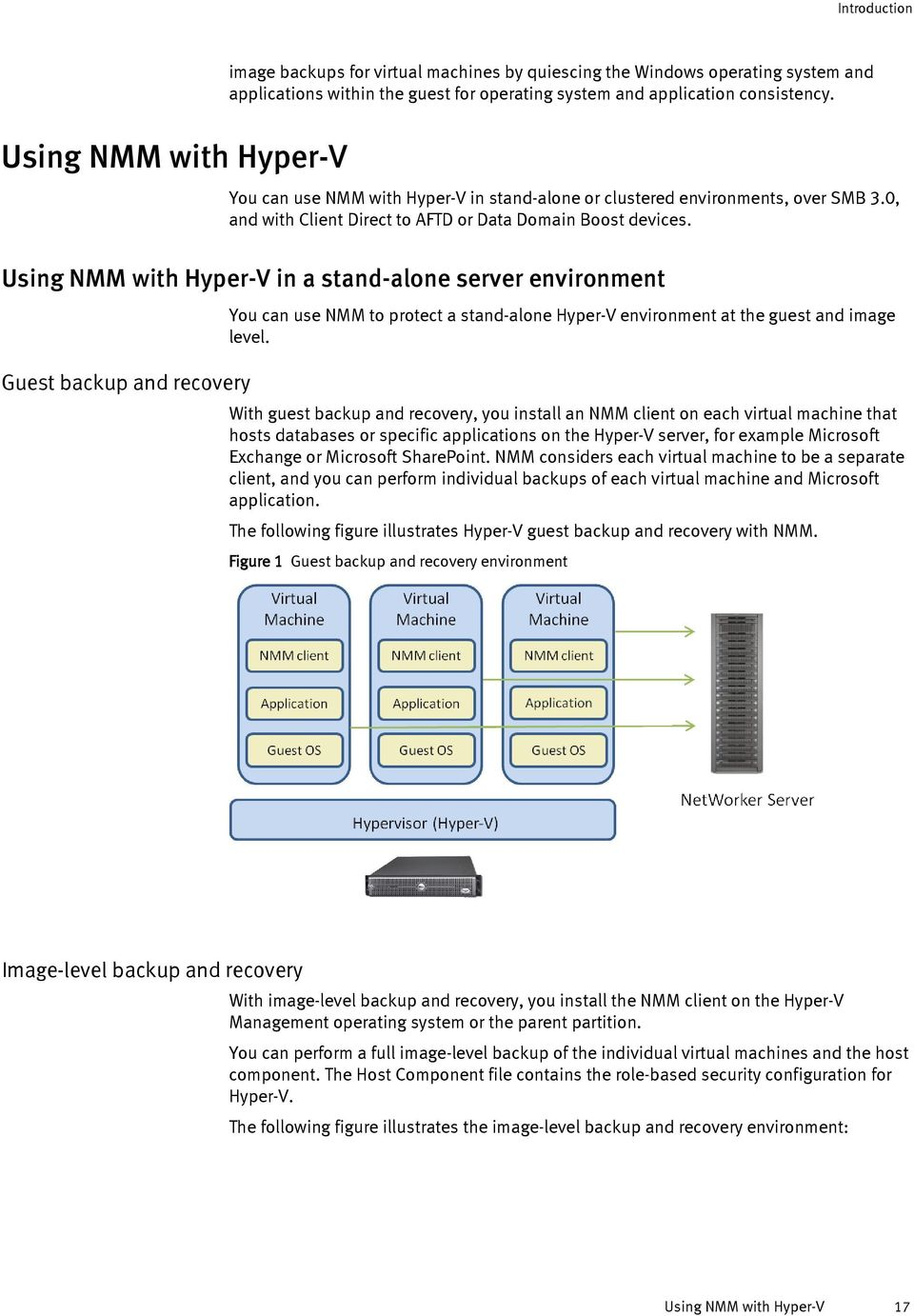 Using NMM with Hyper-V in a stand-alone server environment Guest backup and recovery You can use NMM to protect a stand-alone Hyper-V environment at the guest and image level.