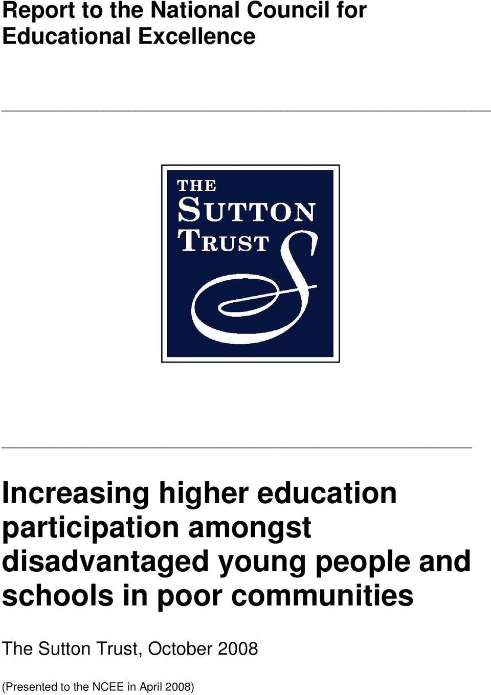 disadvantaged young people and schools in poor communities