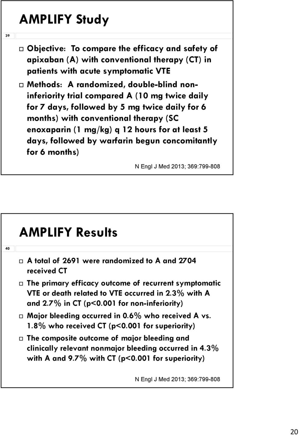 begun concomitantly for 6 months) N Engl J Med 2013; 369:799-808 AMPLIFY Results 40 A total of 2691 were randomized to A and 2704 received CT The primary efficacy outcome of recurrent symptomatic VTE