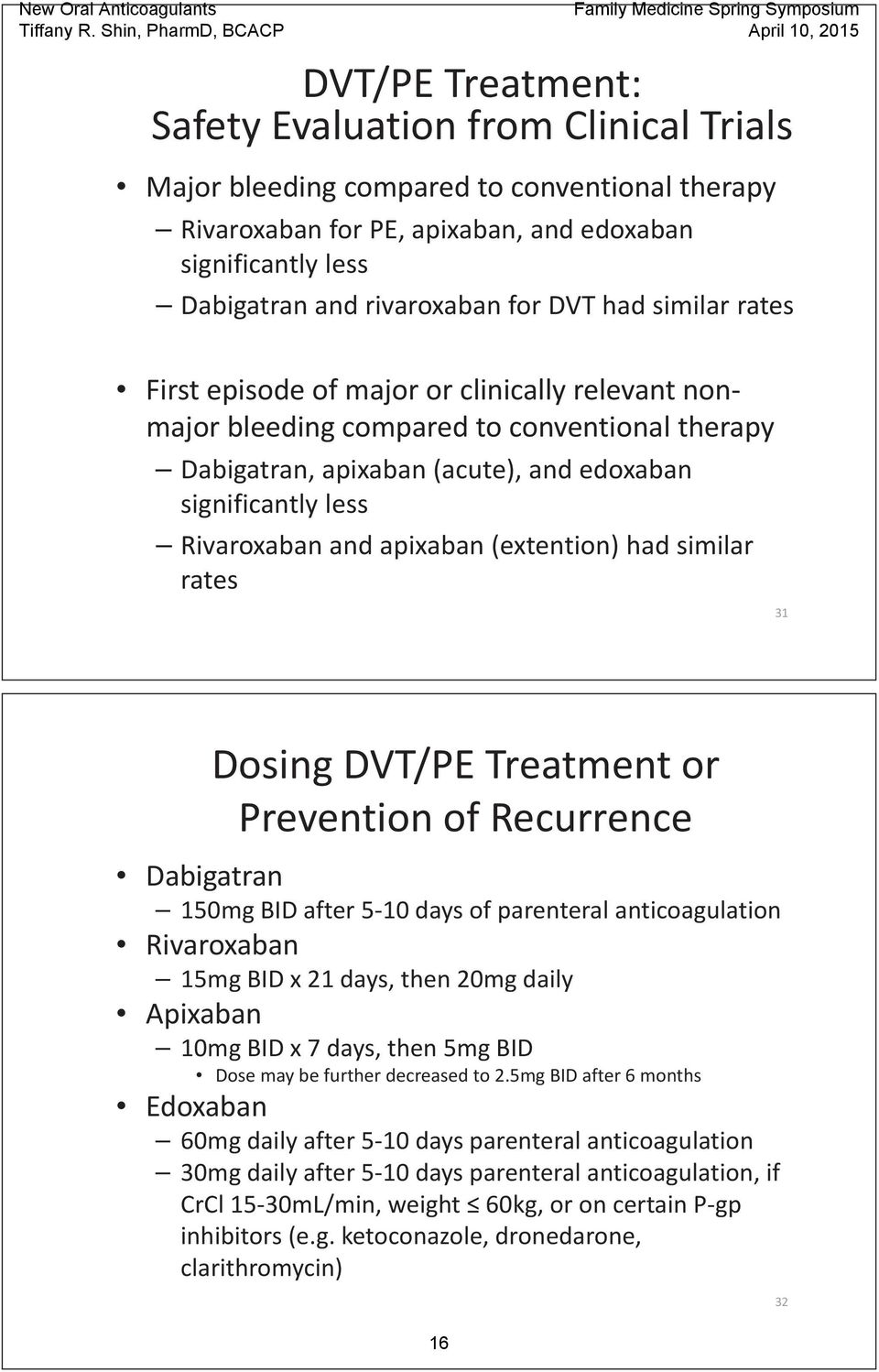 apixaban (extention) had similar rates 31 Dosing DVT/PE Treatment or Prevention of Recurrence Dabigatran 150mg BID after 5 10 days of parenteral anticoagulation Rivaroxaban 15mg BID x 21 days, then