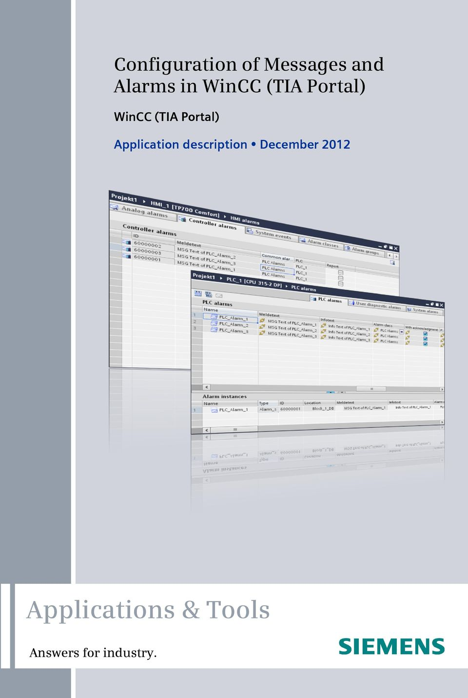 Applications & Tools. Configuration of Messages and Alarms in WinCC ...